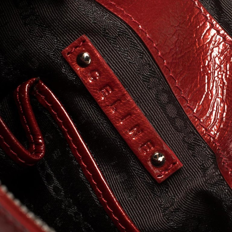 Celine Red Patent Leather Turnlock Flap Chain Bag For Sale 5