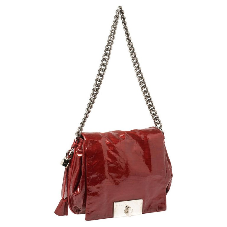 Brown Celine Red Patent Leather Turnlock Flap Chain Bag For Sale