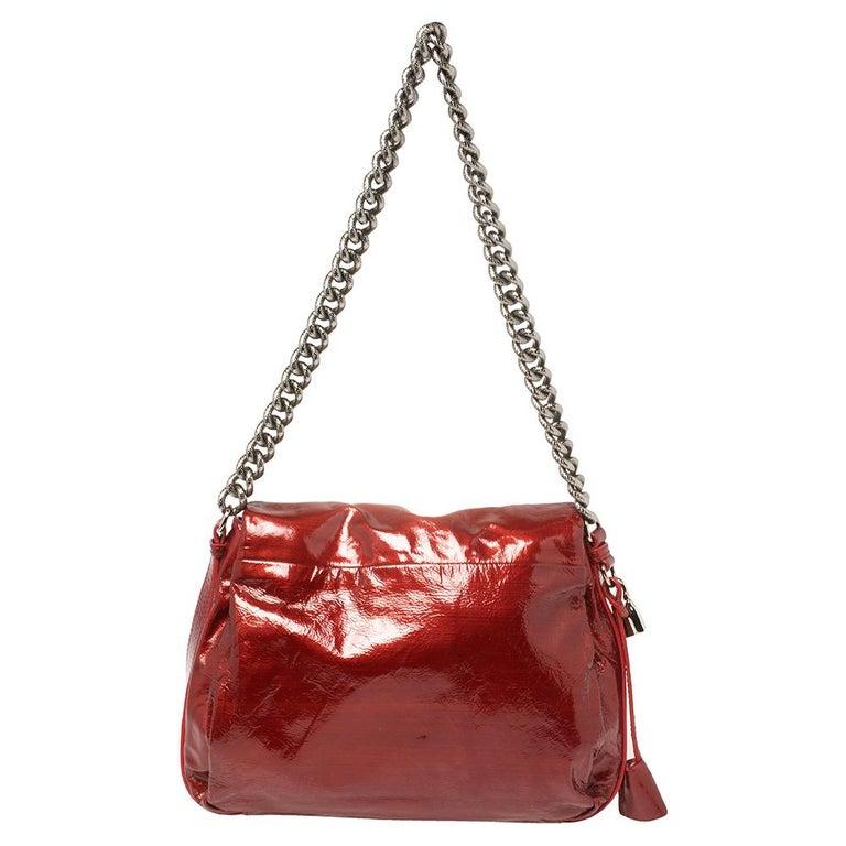 Celine Red Patent Leather Turnlock Flap Chain Bag In Good Condition For Sale In Dubai, Al Qouz 2