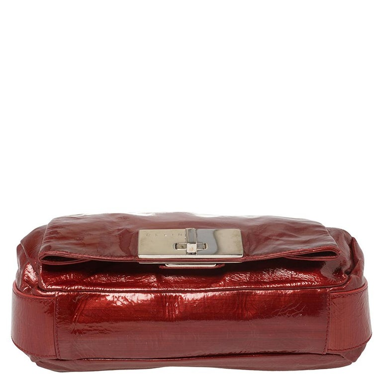 Women's Celine Red Patent Leather Turnlock Flap Chain Bag For Sale
