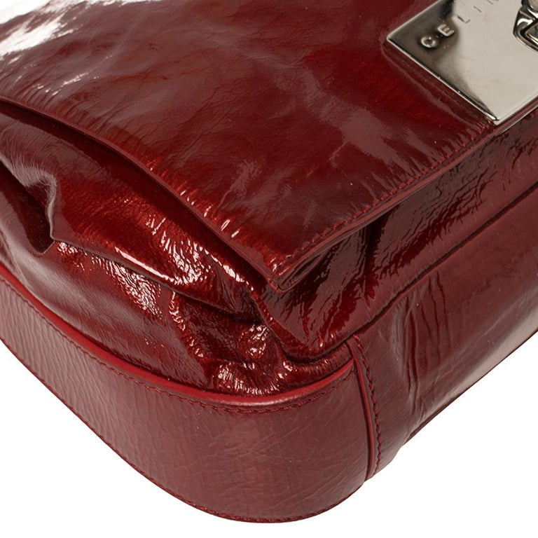 Celine Red Patent Leather Turnlock Flap Chain Bag For Sale 1