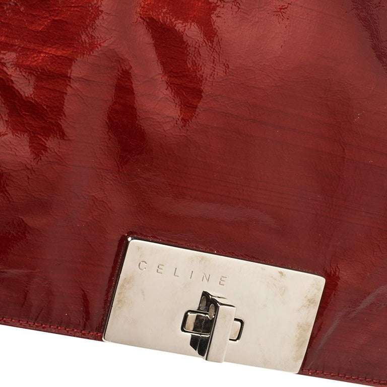 Celine Red Patent Leather Turnlock Flap Chain Bag For Sale 3