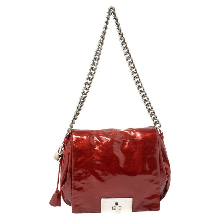 Celine Red Patent Leather Turnlock Flap Chain Bag For Sale