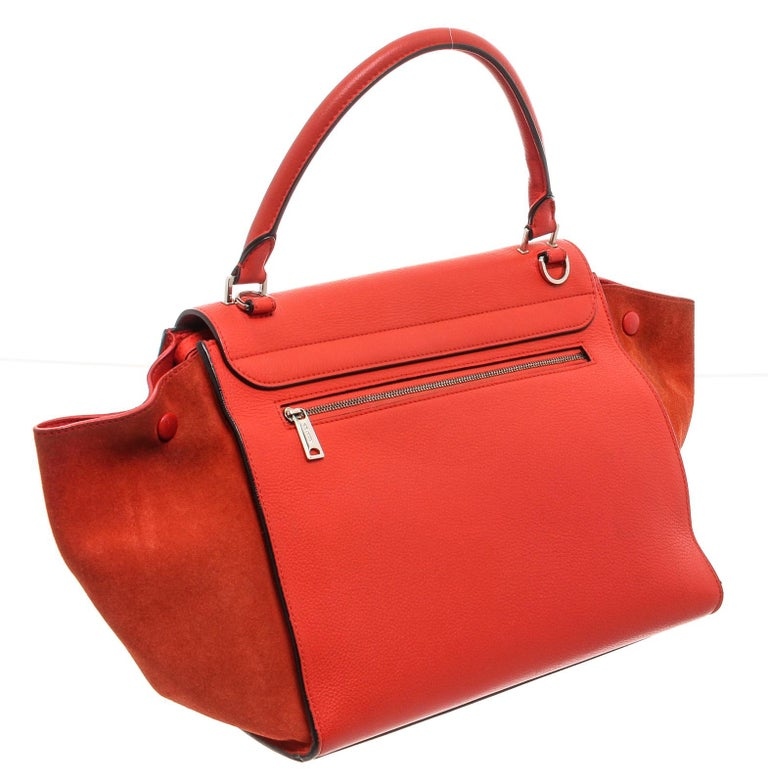 Women's or Men's Celine Red Suede Leather Small Trapeze Shoulder Bag For Sale