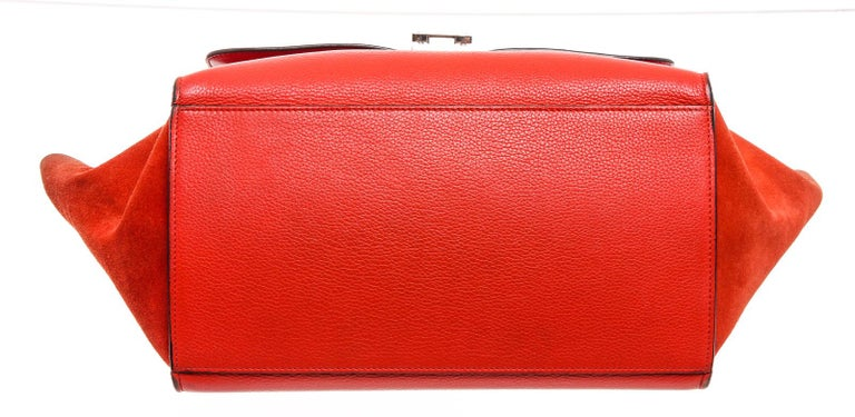 Celine Red Suede Leather Small Trapeze Shoulder Bag For Sale 1