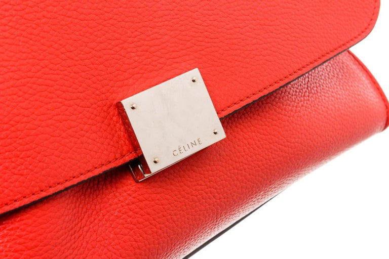 Celine Red Suede Leather Small Trapeze Shoulder Bag For Sale 3