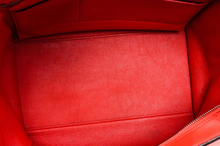 Celine Red Suede Leather Small Trapeze Shoulder Bag For Sale 4