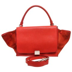 Celine Red Suede Leather Small Trapeze Shoulder Bag