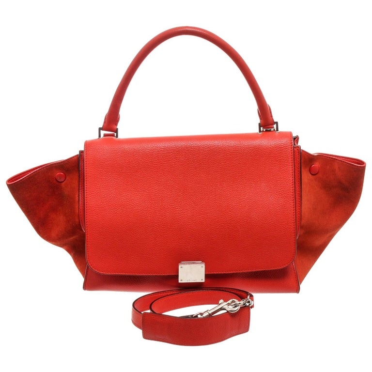 Celine Red Suede Leather Small Trapeze Shoulder Bag For Sale
