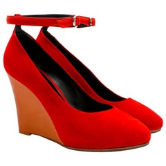 Celine Red Suede Wedge Pumps 39.5