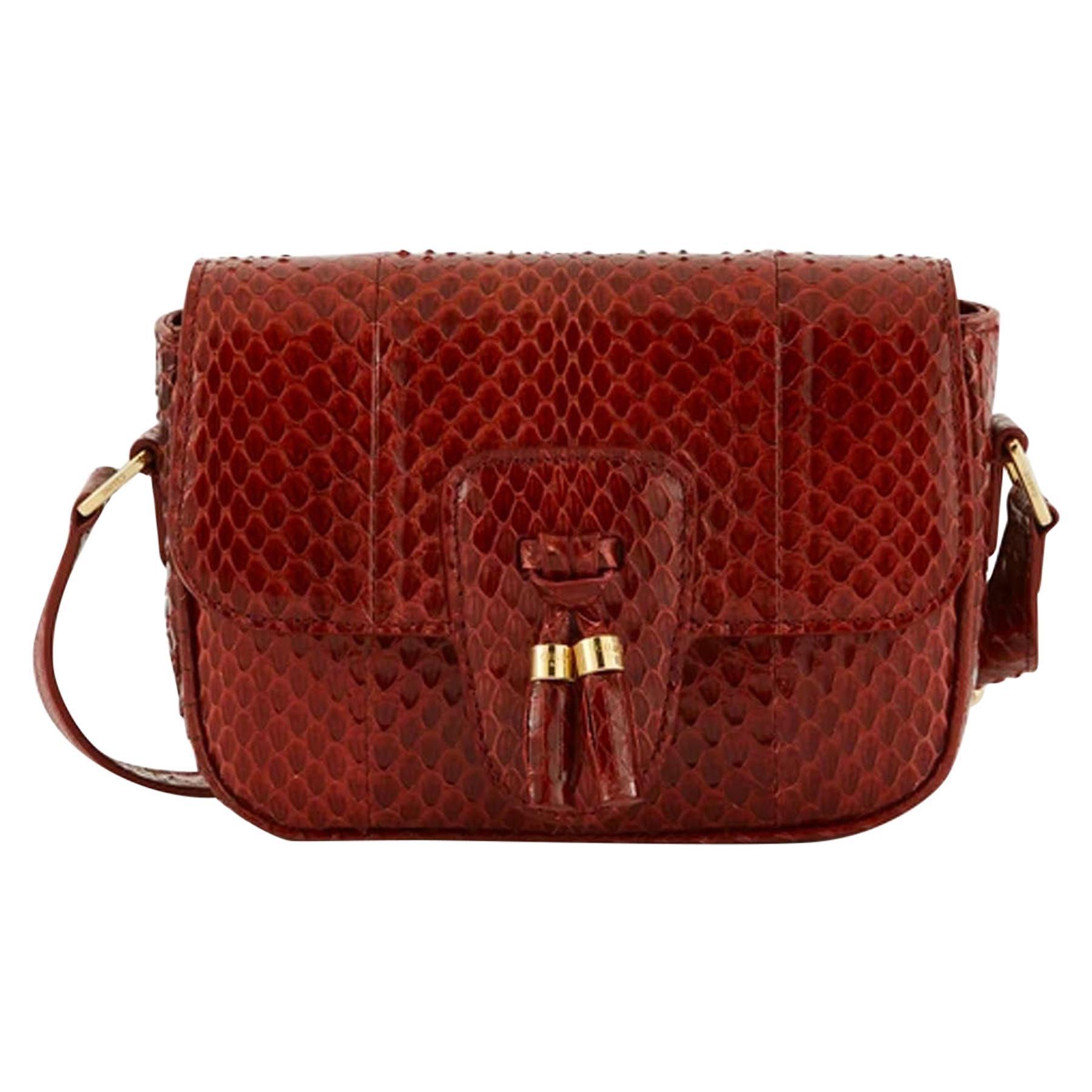 Celine Ruby Elaphe Snakeskin Mini Teen Tassels Crossbody Bag rt. $1,950