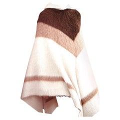 Celine Runway Striped Alpaca Blend Hooded Knit Poncho - Size XS