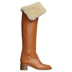 Celine Runway Tan Leather Shearling Lined Long Boots - Size EU 35