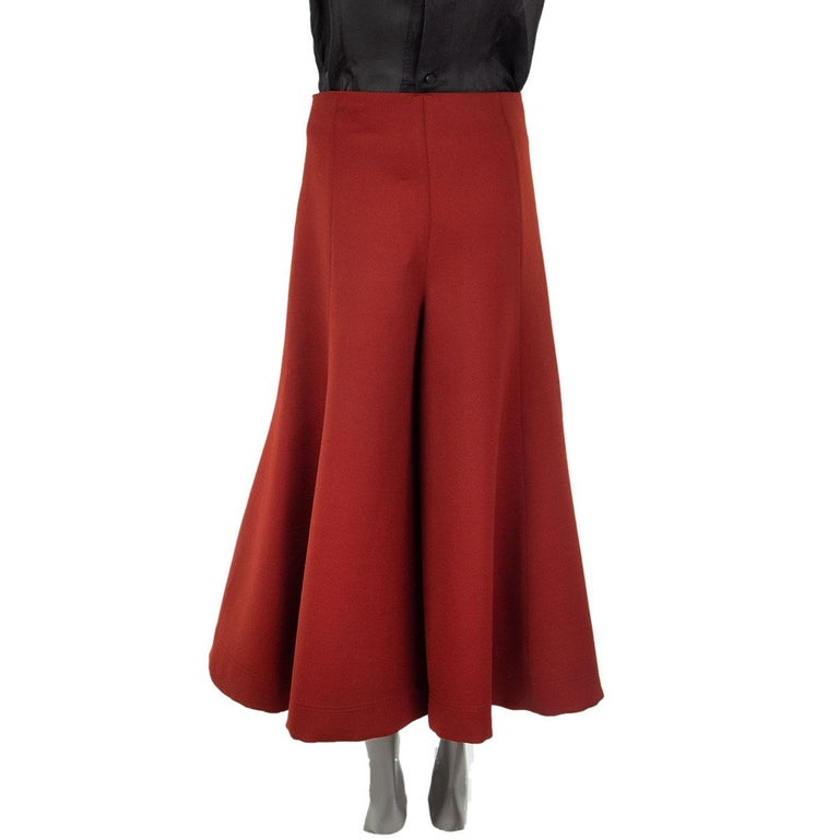 Red CELINE rust red wool CROPPED FLARED LEG Pants 36 XS For Sale