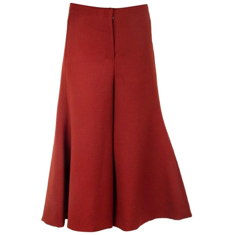 CELINE rust red wool CROPPED FLARED LEG Pants 36 XS For Sale