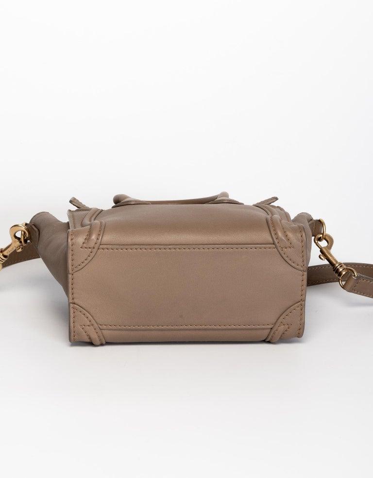 Brown Celine Sand Dune Nano Luggage Bag For Sale