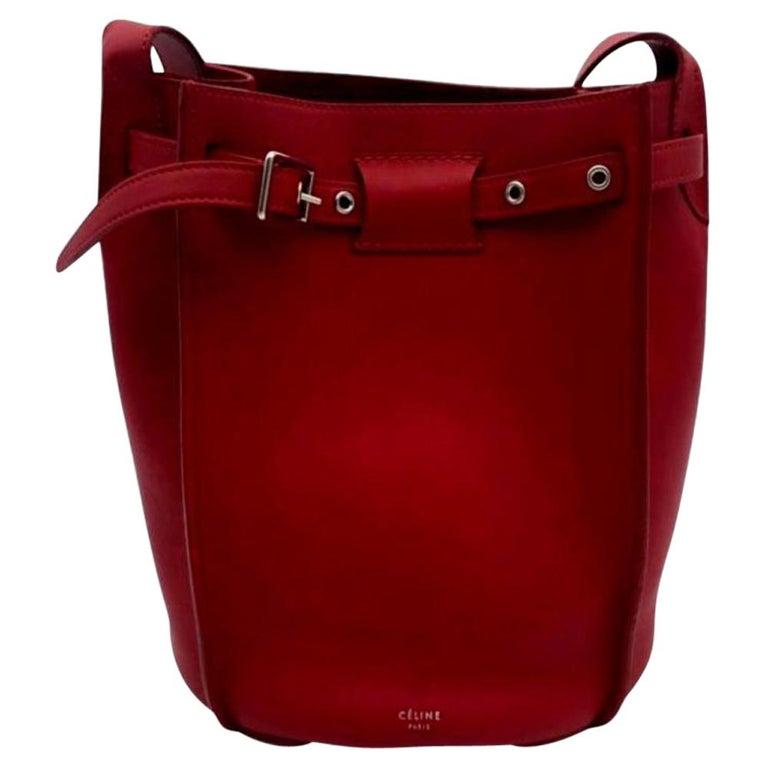 CÉLINE sangle Shoulder bag in Red Leather For Sale