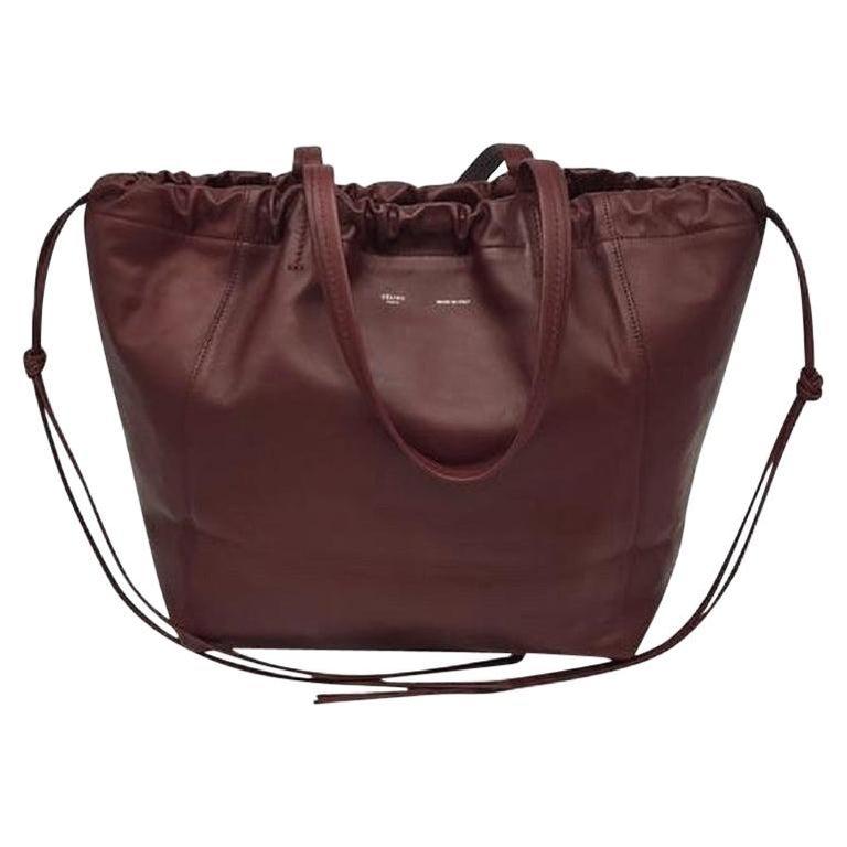 CÉLINE Shoulder bag in Burgundy Leather For Sale