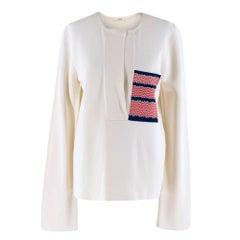 Celine Silk Blend Blouse with Silk Knit Patch Pocket M