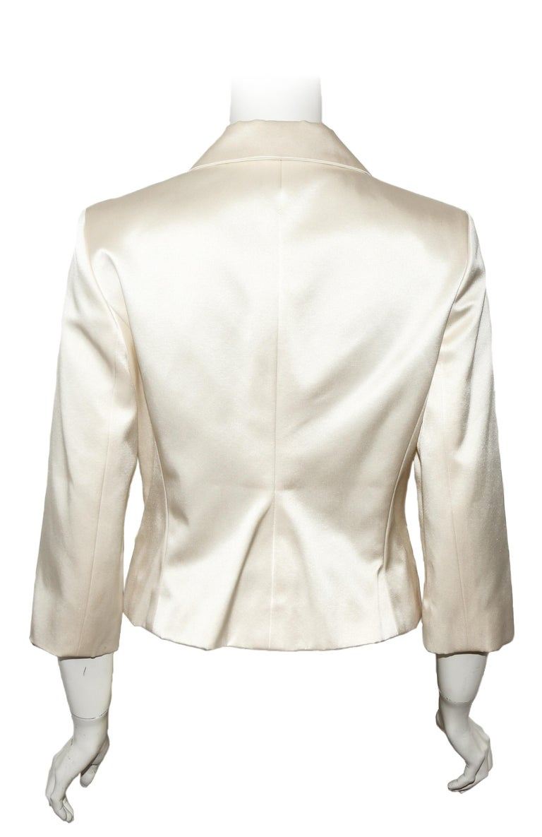 Beige Celine Silk Blend Cropped Jacket With Oversize Buttons 40 EU For Sale