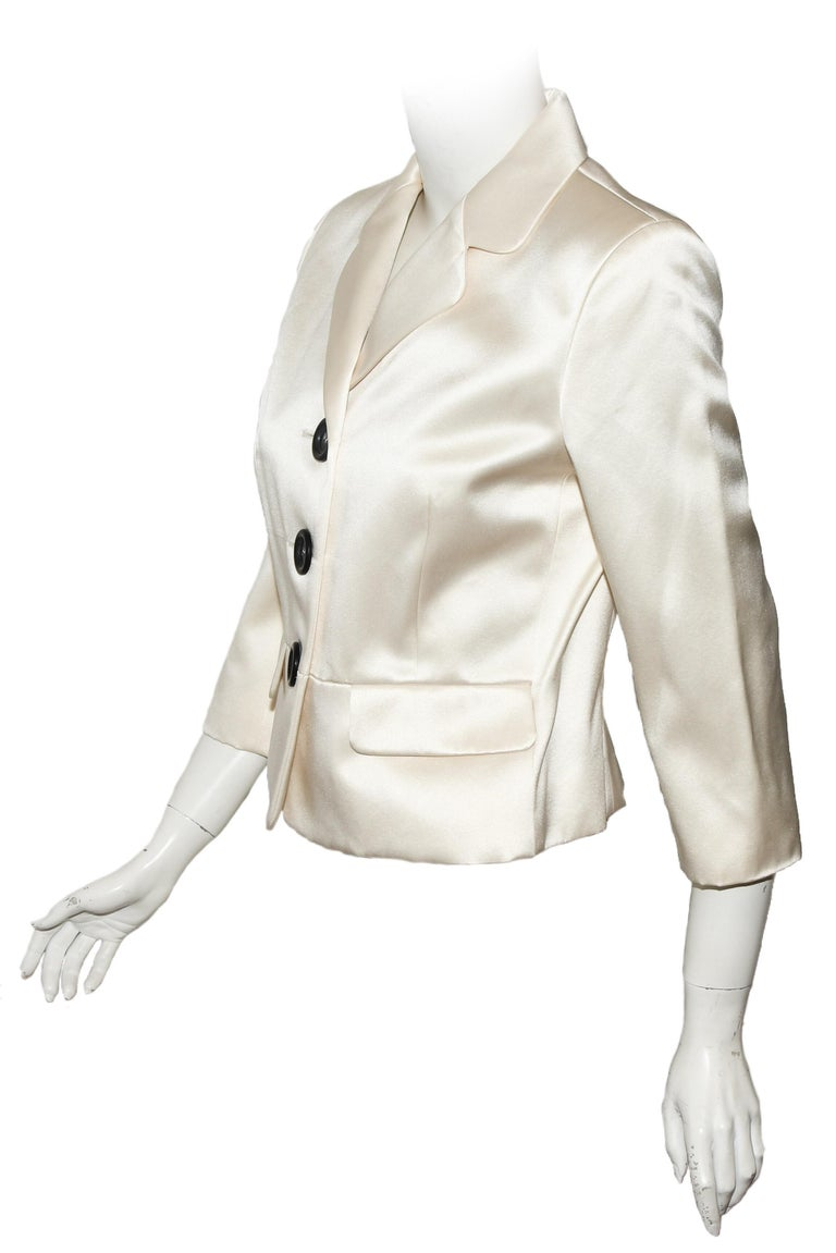 Celine Silk Blend Cropped Jacket With Oversize Buttons 40 EU In Excellent Condition For Sale In Palm Beach, FL