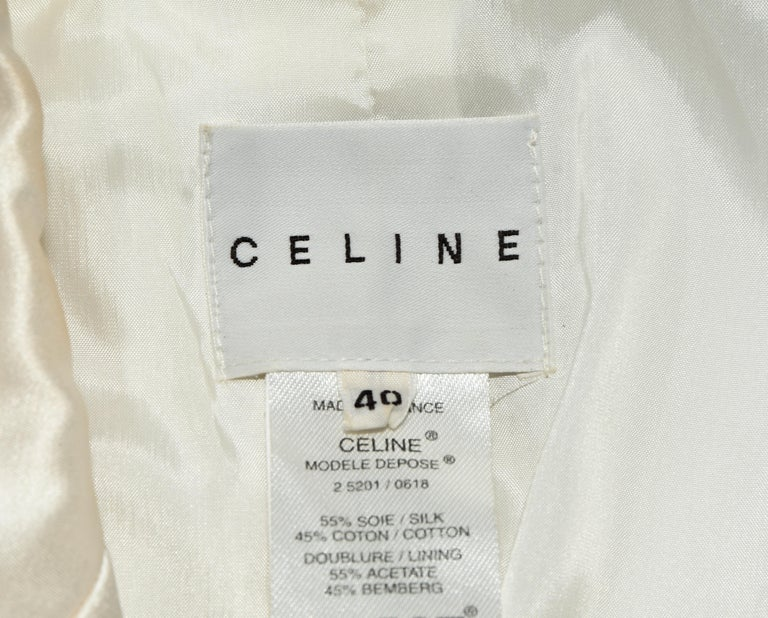 Women's Celine Silk Blend Cropped Jacket With Oversize Buttons 40 EU For Sale