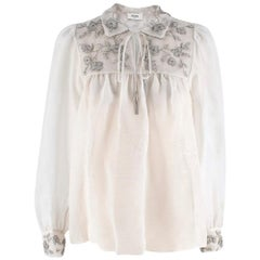 Celine Silk Organza Embroidered Prairie Blouse - Size US 0-2