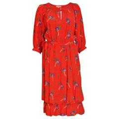 Celine Silk Red Floral Dress