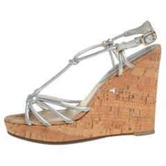 Céline Silver Leather T-Strap Wedge Platform Ankle Strap Sandals Size 39