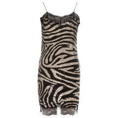 Celine silver zebra patterned sequin and lace slip dress, fw 2003