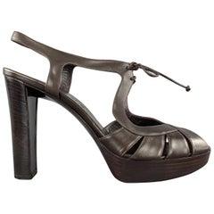 CELINE Size 10 Brown Leather Chunky Heel Platform Sandals