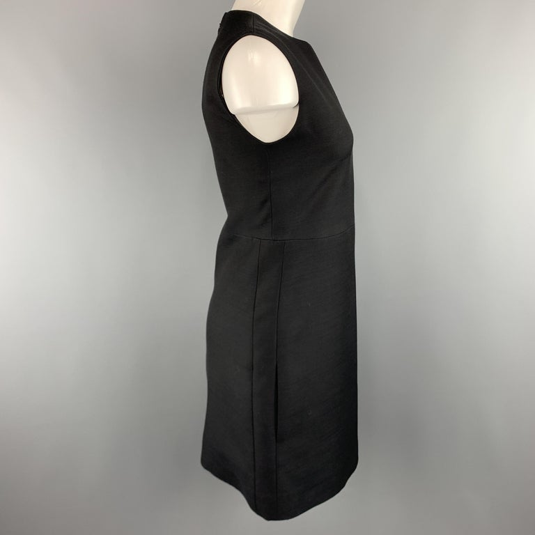 CELINE Size 2 Black Structured Sleeveless A Line Shift Dress In Excellent Condition For Sale In San Francisco, CA