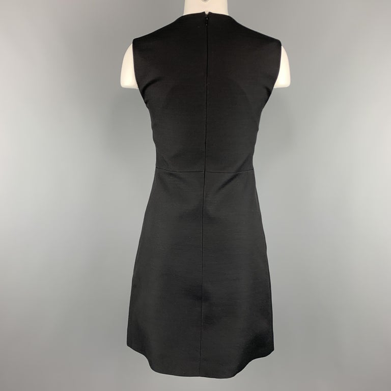 CELINE Size 2 Black Structured Sleeveless A Line Shift Dress For Sale 1