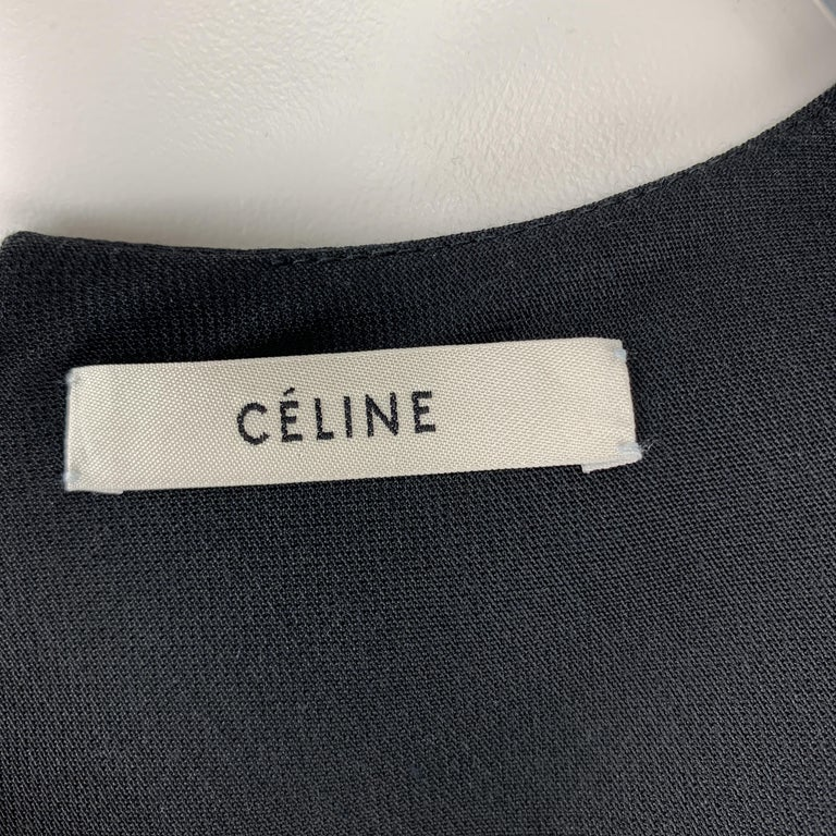 CELINE Size 2 Black Structured Sleeveless A Line Shift Dress For Sale 2