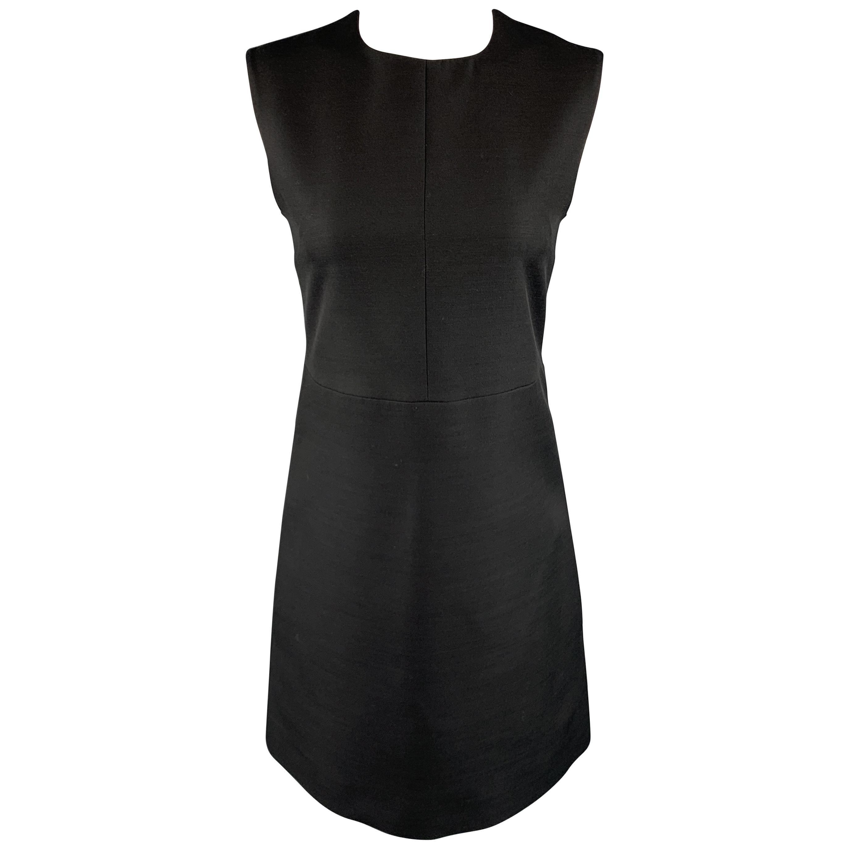 CELINE Size 2 Black Structured Sleeveless A Line Shift Dress
