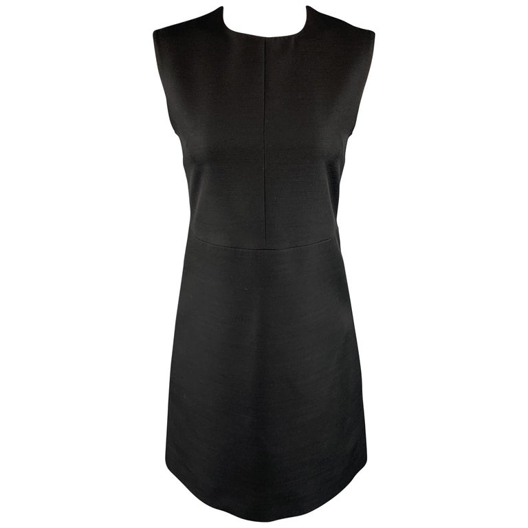 CELINE Size 2 Black Structured Sleeveless A Line Shift Dress For Sale