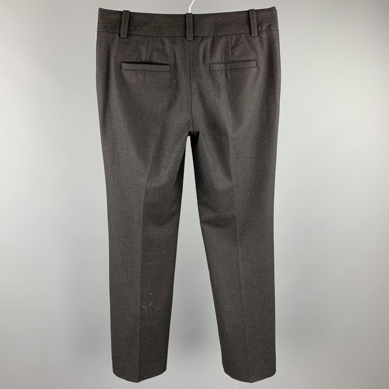 CELINE Size 4 Charcoal Wool Wide Leg Dress Pants In Excellent Condition For Sale In San Francisco, CA