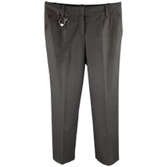 CELINE Size 4 Charcoal Wool Wide Leg Dress Pants