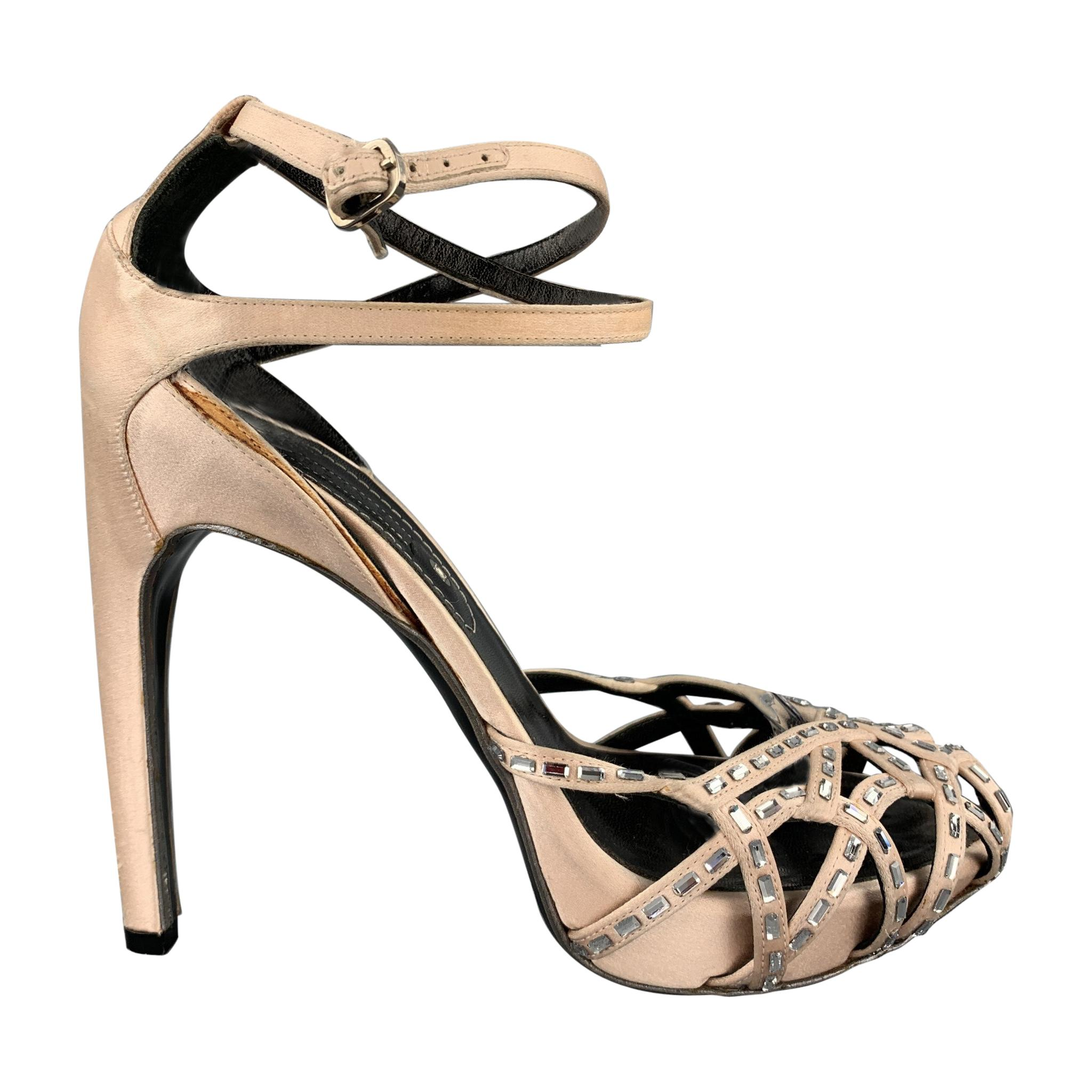 CELINE Size 6.5 Rose Crystal Embellishment Silk Ankle Strap Pumps