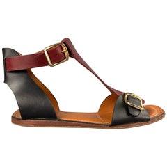 CELINE Size 9 Burgundy & Black Leather Gladiator Sandals