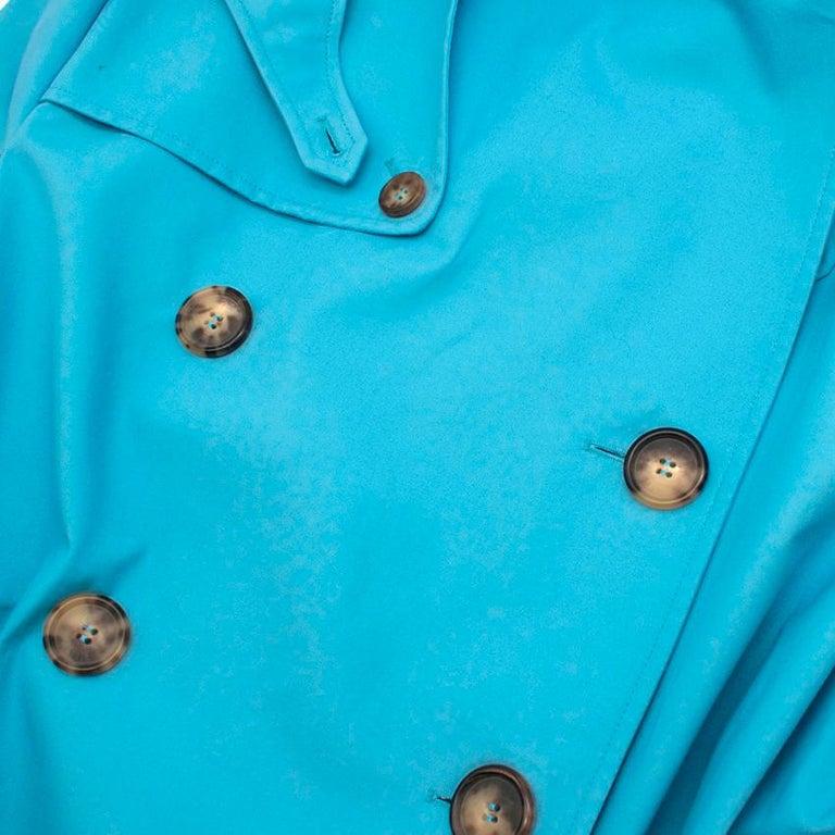Women's Celine Sky Blue Double Breasted Trench Coat XXS For Sale