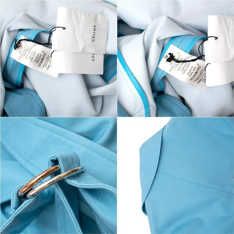 Celine Sky Blue Double Breasted Trench Coat XXS For Sale 1