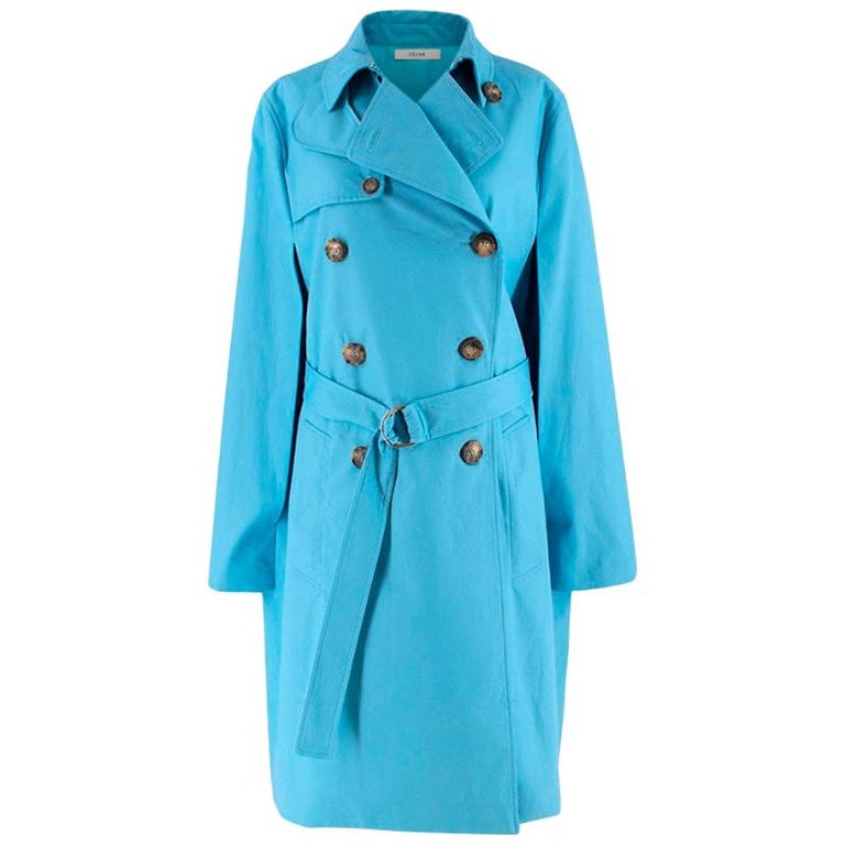 Celine Sky Blue Double Breasted Trench Coat XXS For Sale