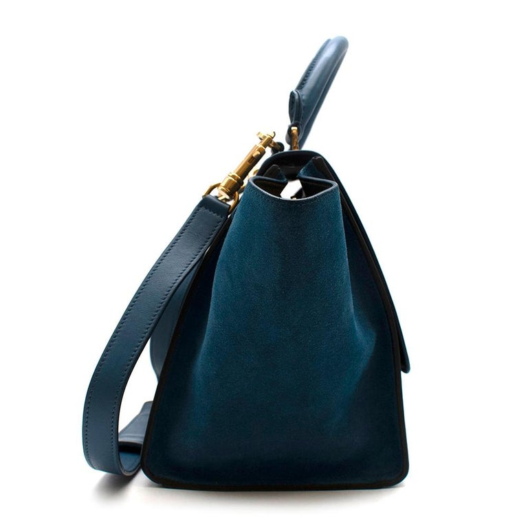 Celine Blue & Black Suede Leather Trapeze Bag  -Celine by Phoebe Philo -Made of soft leather and suede -Single rounded top handle -Adjustable detachable shoulder strap -Foldover top -Flip-lock fastening -Top zip fastening -Internal patch