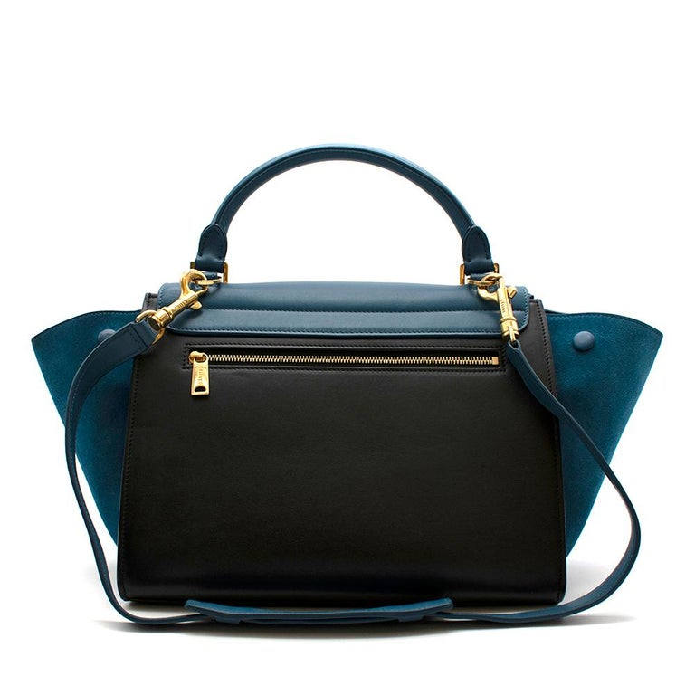 Celine Small Blue & Black Suede Leather Trapeze Bag - Size Small In Excellent Condition For Sale In London, GB