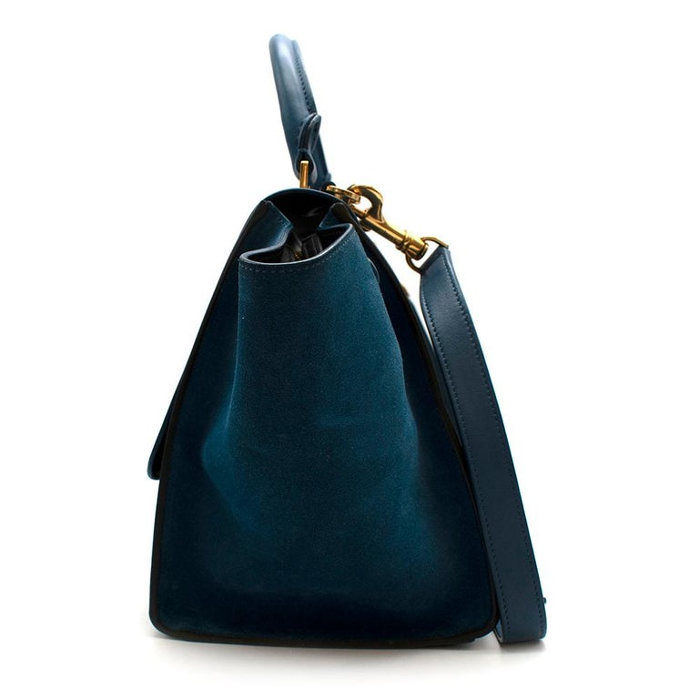 Women's or Men's Celine Small Blue & Black Suede Leather Trapeze Bag - Size Small For Sale
