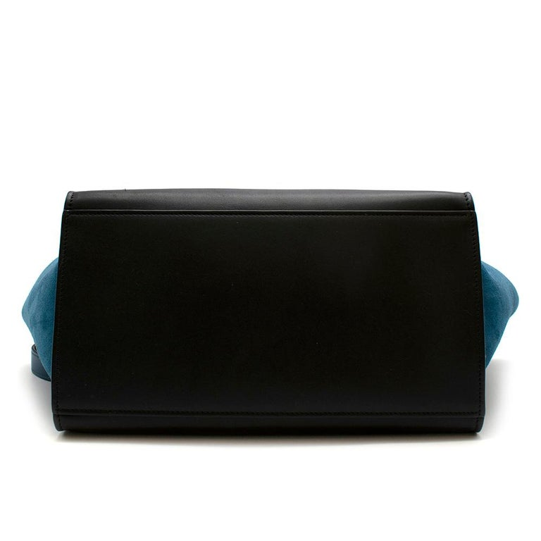 Celine Small Blue & Black Suede Leather Trapeze Bag - Size Small For Sale 1