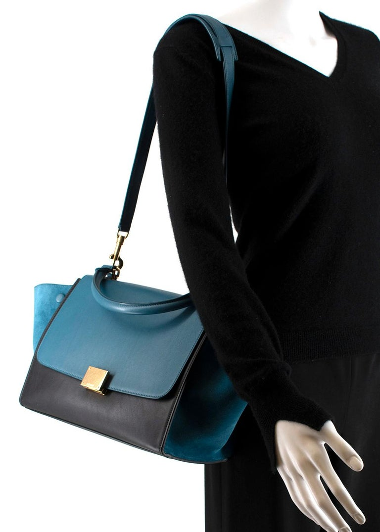 Celine Small Blue & Black Suede Leather Trapeze Bag - Size Small For Sale 2