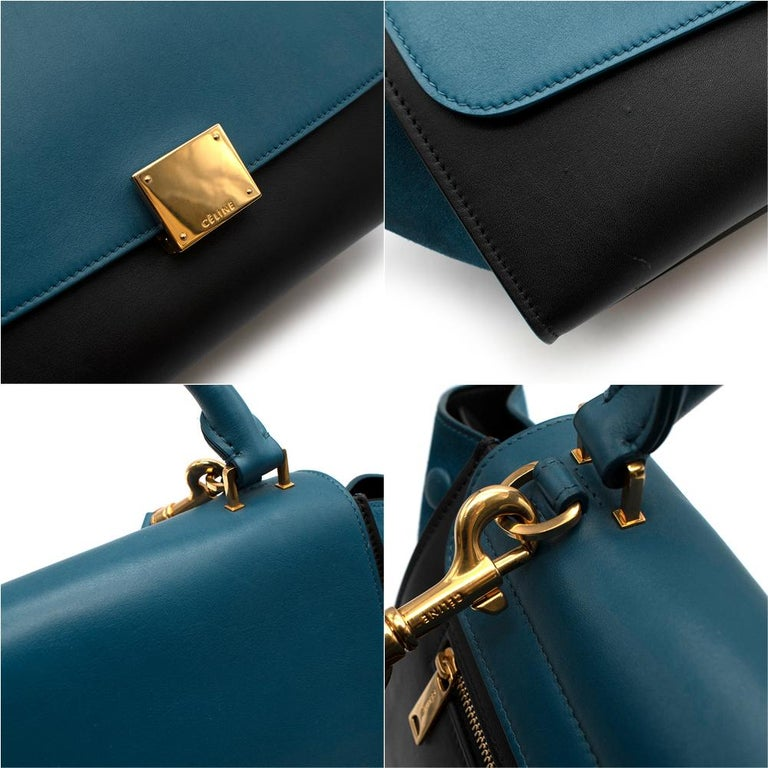 Celine Small Blue & Black Suede Leather Trapeze Bag - Size Small For Sale 3