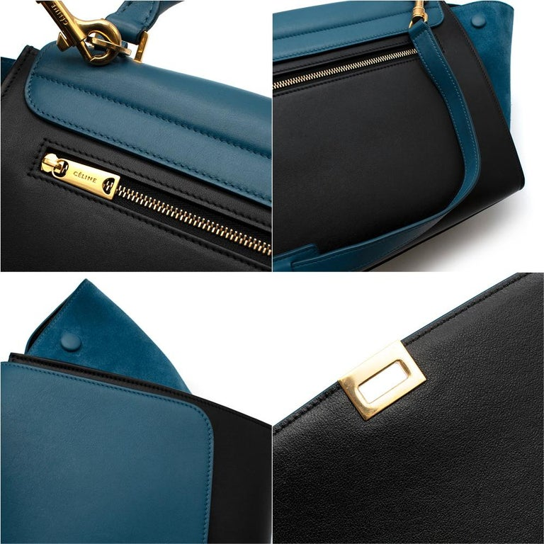 Celine Small Blue & Black Suede Leather Trapeze Bag - Size Small For Sale 4